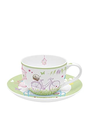 Easy Life Design Tazza da Tè con Piatto in Porcellana Bone China Spring 180 ml