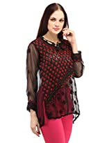 Indiankala4u Chikan Hand Embroidery Georgette Top/Tunic Black