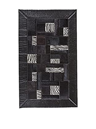 RugSense Alfombra Patchwork Negro/Blanco 110 x 65 cm