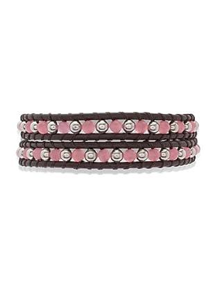 Lucie & Jade Echtleder-Armband Katzenauge, Metallbeads dunkelbraun/rosa/silber