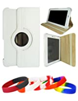 DMG Full 360 Rotating Book Stand Cover Case Pouch for Samsung Galaxy Tab 2 P3100 with DMG Wristband (White)
