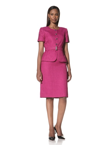 Tahari by A.S.L. Women's Short Sleeve Jacket with Matching Skirt (Wildberry)