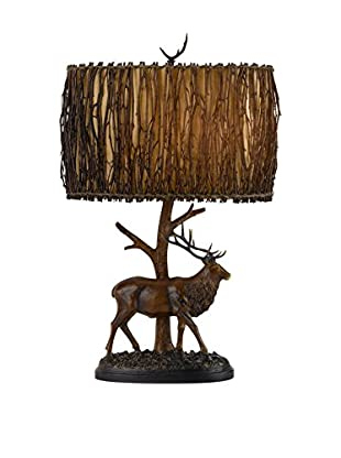 Cal Lighting Elk Resin 1-Light Table Lamp With Twig Shade, Brownish