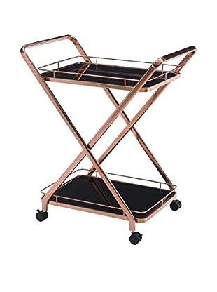 Zuo Vesuvius Serving Cart, Rose Gold