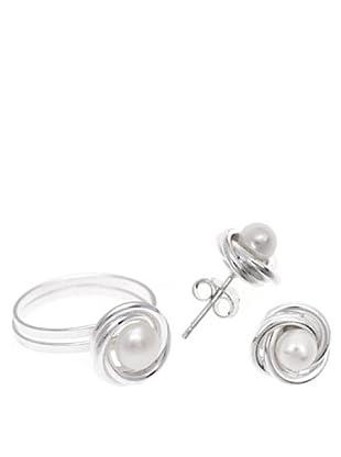 Silver One Conjunto Anillo y Pendientes Nudo Perla