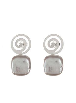 Silver One Pendientes Espiral de la Suerte Perla