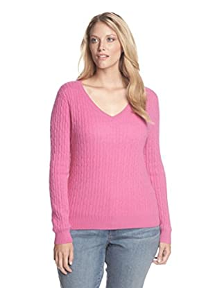 Kier & J Plus Women's Cashmere V-Neck Cable Sweater (Lupin)