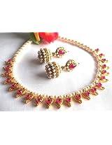 Necklace sets - Dark pink Heart Gota Pearl Necklace set