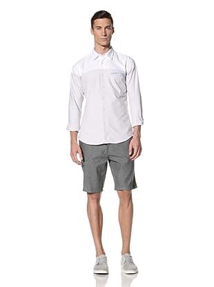 White Picket Fences Men's Walden Oxford Color Block Shirt (White/Blue)