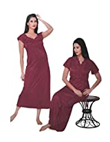 Indiatrendzs Women's Sexy Hot Nighty Dark Pink 2pc Set Honeymoon Nightwear