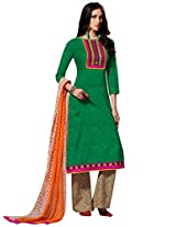 Inddus Women Green & Orange Self Designed Plazzo Unstitched Material
