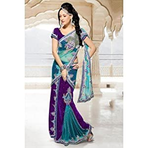 Pure Georgette and Net Saree in Purple and Sky Blue Colour 1103