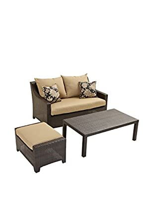 RST Brands Deco Loveseat & Ottoman With Coffee Table Set, Beige