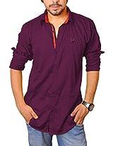 Nation Polo Club Men's 100% Cotton Lycra Coduroy Pattern Slim Fit Casual Dark Purple Color Shirt L