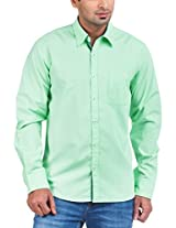 Zovi Cotton Slim Fit Mint Green Solid Casual Shirt - Full Sleeves 1061673150140