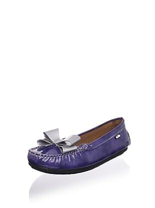 Venettini Kid's Violet Loafer (Blue Brush Patent/Silver Patent Bow)