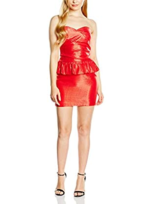 Rare London Vestido Peplum Metallic