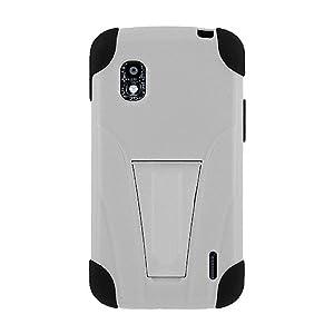 Amzer 95451 Double Layer Hybrid Case with Kickstand - Black/ White for Google Nexus 4 E960, LG Nexus 4 E960