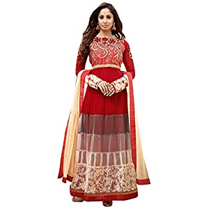 Sangeeta Ghosh Georgette Red Semi Stitched Anarkali Suit