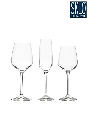 Cristal de Bohemia Juego 18 Piezas Wine Club Azul