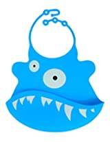 Blue the One Eyed Monster Silicone Baby Bib - Tykes and Tails - Wipeable Food Grade Ultra Flexible Design for Ultra Comfort for your Baby