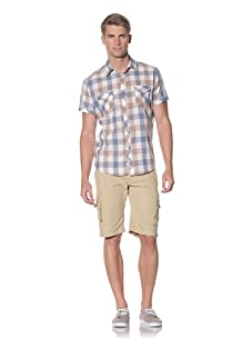 Fresh Men's Short Sleeve Plaid Button-Front Shirt (Beige)