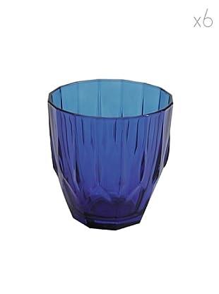 Pasabahce Set 6 Bicchieri Acqua Diamond Blu