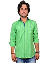 Nation Polo Club Men's Striped Slim Fit Casual Green Color Shirt L
