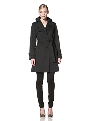 Ellen Tracy Women's Single-Breasted Trench (Black)