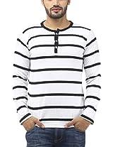 Leana Men's Button Front Cotton T-Shirt (SR34_White Black_XXL)