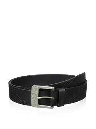 John Varvatos Star USA Men's 39 mm Harness Buckle with Embossed Strap Belt (Black)