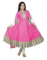 Charu Boutique Women's Cotton Silk Anarkali Suit(Pink White_XL)
