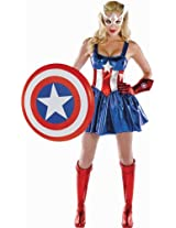 Disguise Women's Marvel Captain America American Dream Sassy Deluxe Costume Red/White/Blue/Medium AD