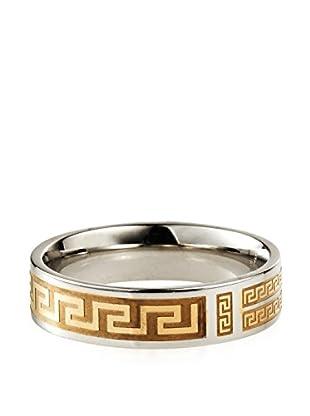 STEELTIME Greek Key Two-Tone Stainless Steel Ring