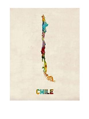 Trademark Fine Art Chile Watercolor Map by Michael Tompsett