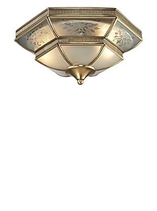Artistic Lighting French Damask 2-Light Flush Mount, Brushed Brass