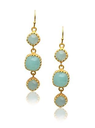 Kevia Rococo Linear Earrings, Chalcedony