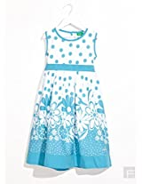 Polka Dot Floral Dress-Blue-2