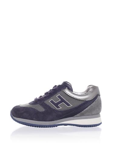 Hogan Kid's Metallic Collar Sneakers (Grey/Blue)