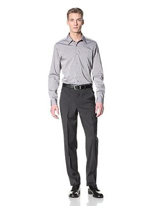 Corbin Men's Wool Stretch Flat-Front Trousers (Charcoal Grey)