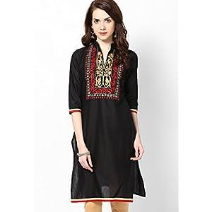 3/4th Sleeve Embroidered Kurta, Black