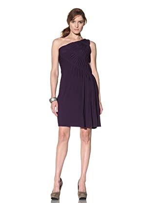 Suzi Chin Women's Ruched One-Shoulder Dress (Deep Purple)