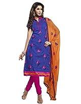 Vibes Women Cotton Salwar Suit Dress Material (V191-8006 _Blue _Free Size)