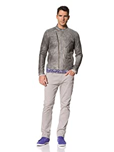 Yigal Azrouël Men's Leather Jacket (Coal Grey)