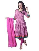 Vastra Vinod Pink Cotton Anarkali Suit
