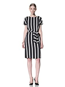 Bill Blass Women's Cap Sleeve Dress with Tie Belted Waist (Black/White)