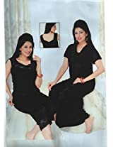 Indiatrendzs Sexy Black Satin Nighty 3 pc Sets Soft Bedroomwear -Free Size