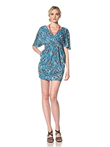 Muse Women's V-Neck Flutter Sleeve Dress (Turquoise/Multi)