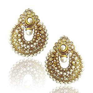 Beautiful white pearl polki earrings by adiva abchi0bcd006