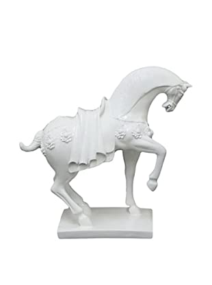 Three Hands Horse Figurine with Base, White